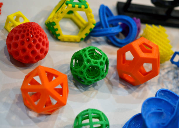 Objects printed by 3d printer stock photo