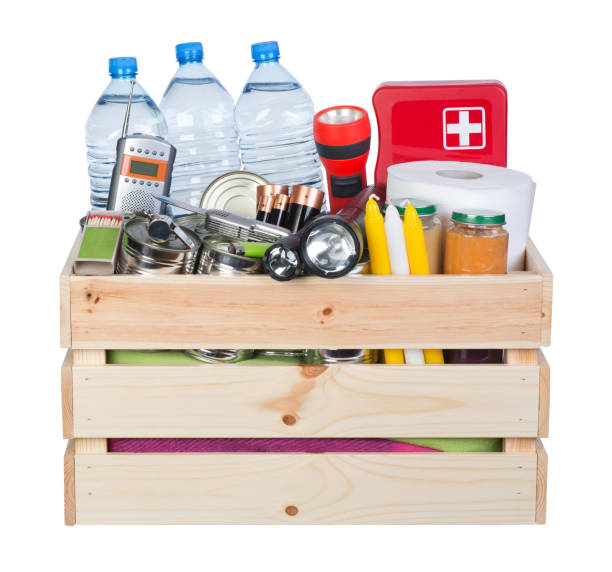 Objects useful in emergency situations such as natural disasters stock photo