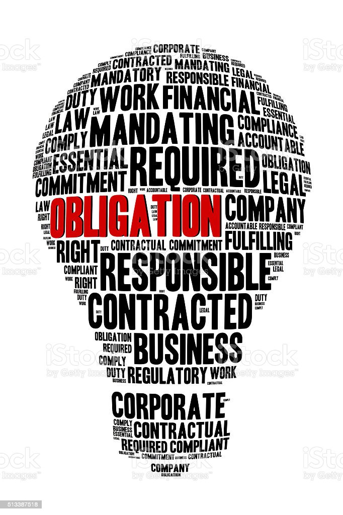 Obligation Word on Word Cloud Bulb Shape Concept stock photo