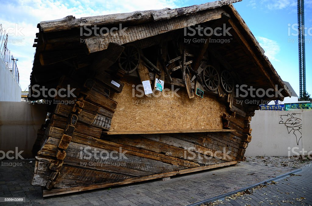 oblique house of wood stock photo