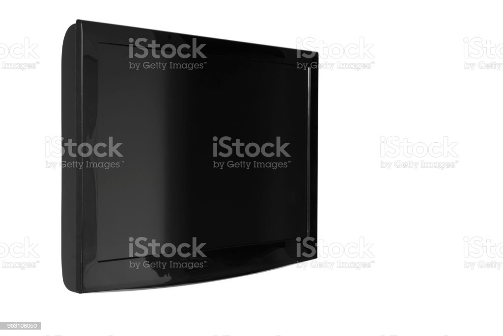 oblique lcd or led and plasma television or tv with black and blank screen display hanging on the wall in the room at home or hotel for entertainment isolated included clipping path stock photo