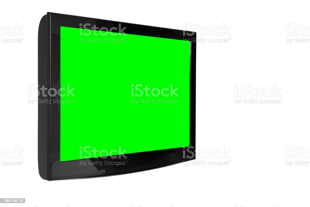 oblique lcd or led and plasma television or tv with black and blank green screen display hanging on the wall in the room at home or hotel for entertainment isolated included clipping path stock photo