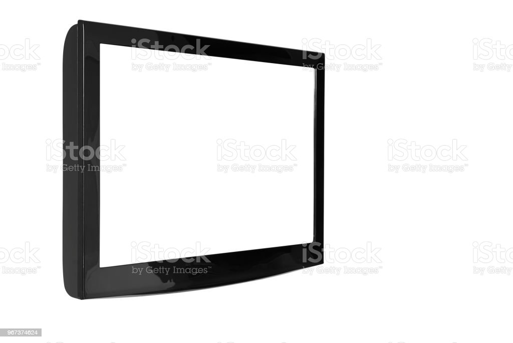 oblique lcd or led and plasma television or tv with black and blank white screen display hanging on the wall in the room at home or hotel for entertainment isolated included clipping path stock photo