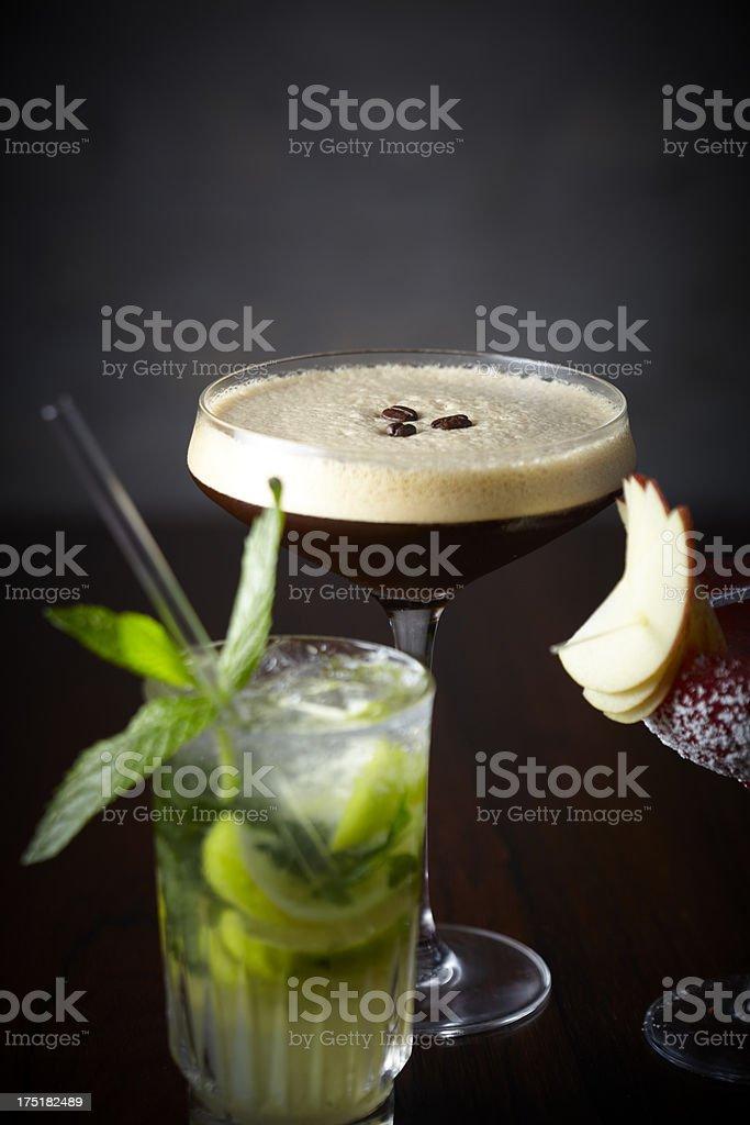 Oblivious, Mojito, Espresso Martini cocktails on bar royalty-free stock photo