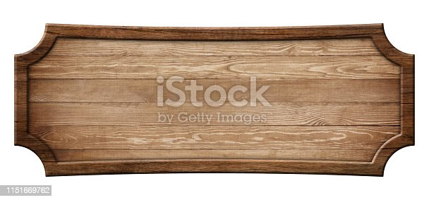 istock Oblong decorative wooden signboard made of natural wood and with dark frame 1151669762