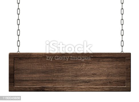 istock Oblong wooden board with frame made of dark wood hanging on chains 1150045656
