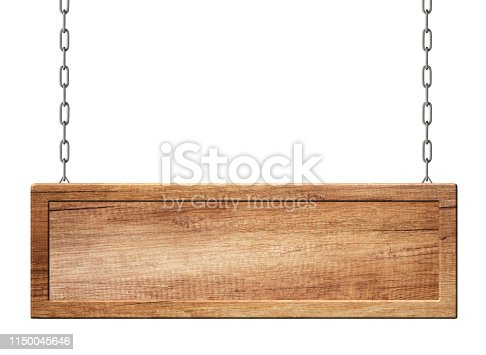 Empty oblong sign with frame made of natural wood hanging on chains. Isolated on white background