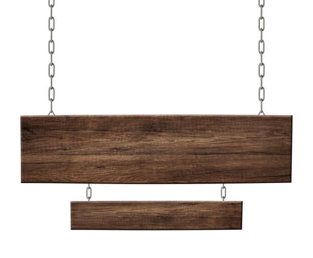用掛在鐵鍊上的黑木製成的木制雙人標誌 - 標誌 個照片及圖片檔