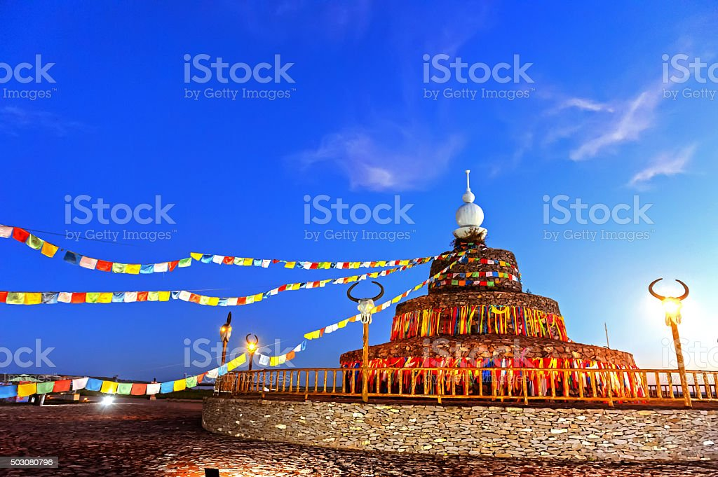 Obo in Inner Mongolia of China stock photo
