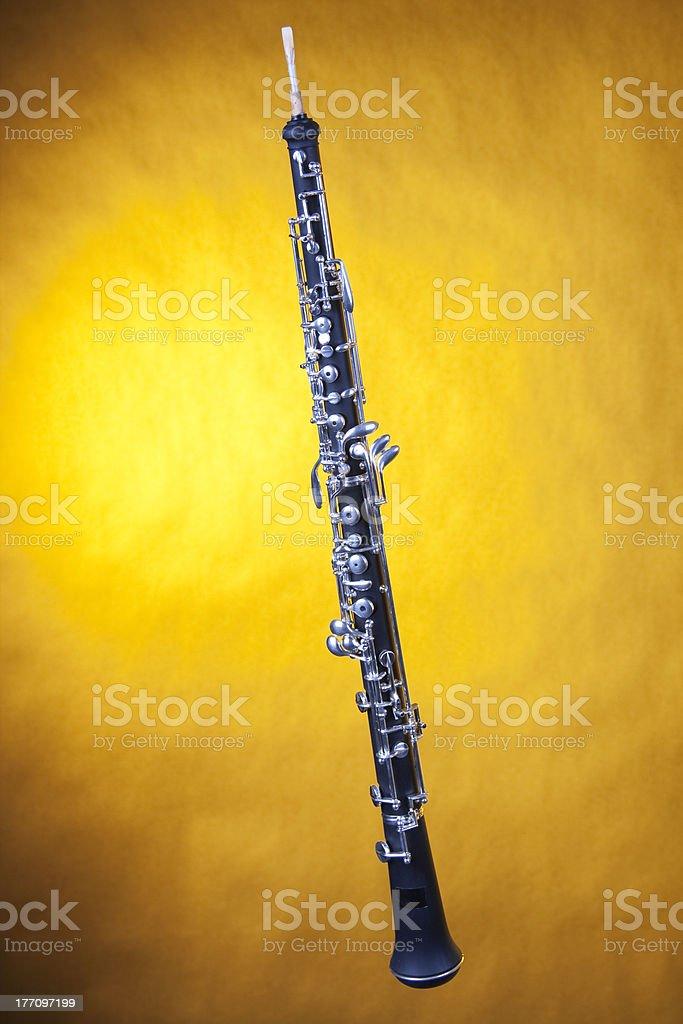 Oboe Isolated On Yellow stock photo