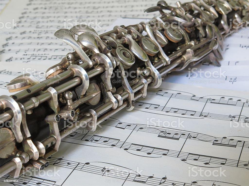 Oboe keys stock photo