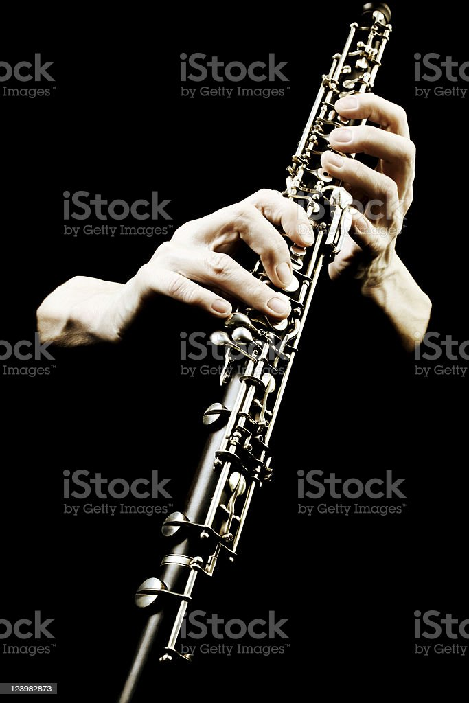Oboe musical instrument of symphony orchestra. stock photo