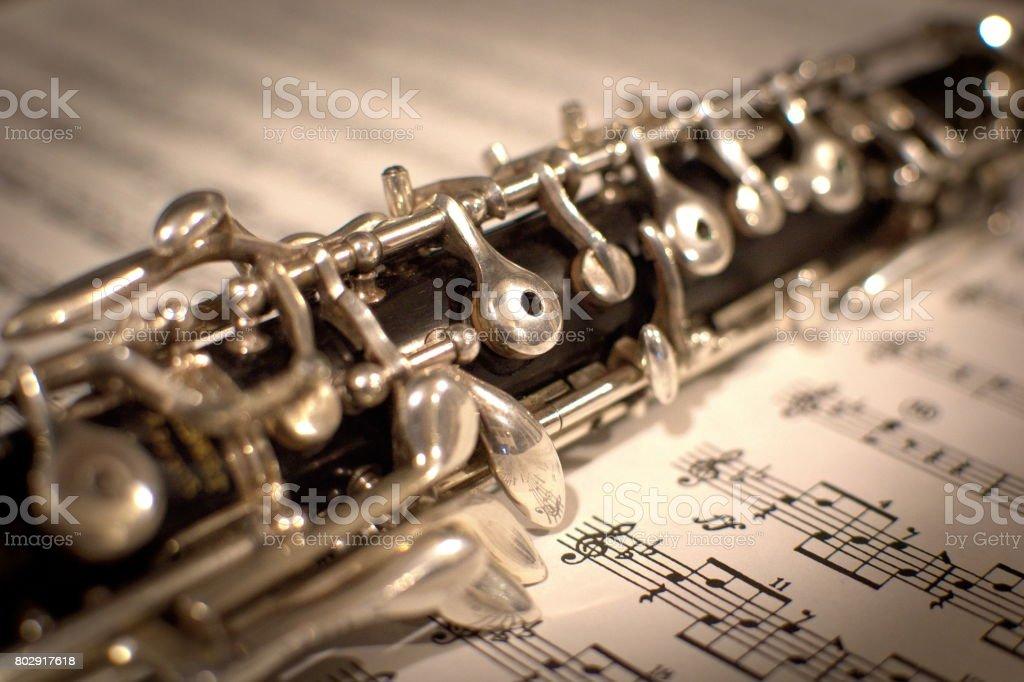 Oboe on Music stock photo