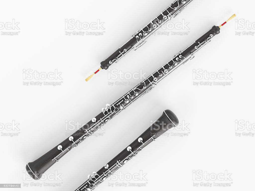 Oboe  on white 3D rendering stock photo