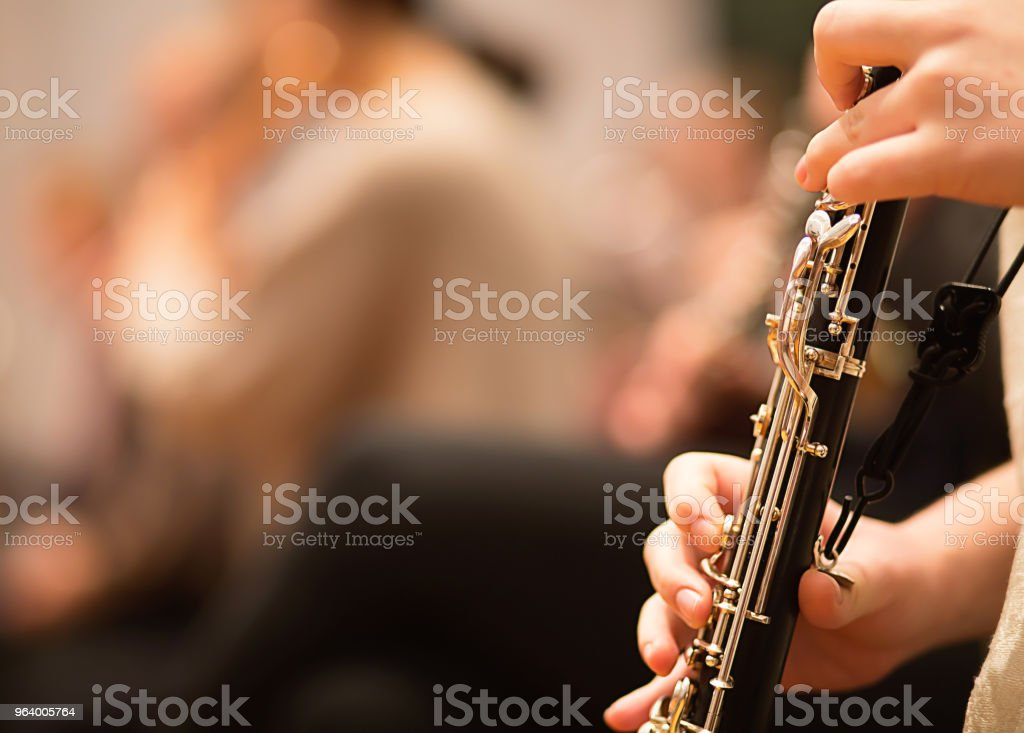 Oboe player performing in an orchestra - Royalty-free Artist Stock Photo