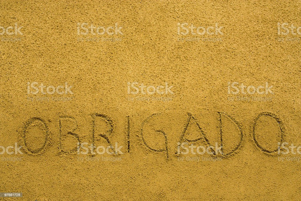 Obrigado is Thanks in Portugal royalty-free stock photo