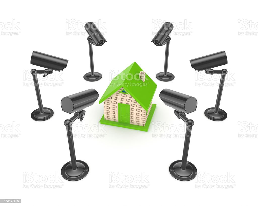 Observation Cameras Around 3d Small House Stock Photo Download