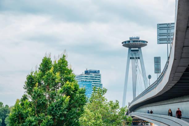 UFO Observation Deck and bridge on Danube river in Bratislava, Slovakia stock photo