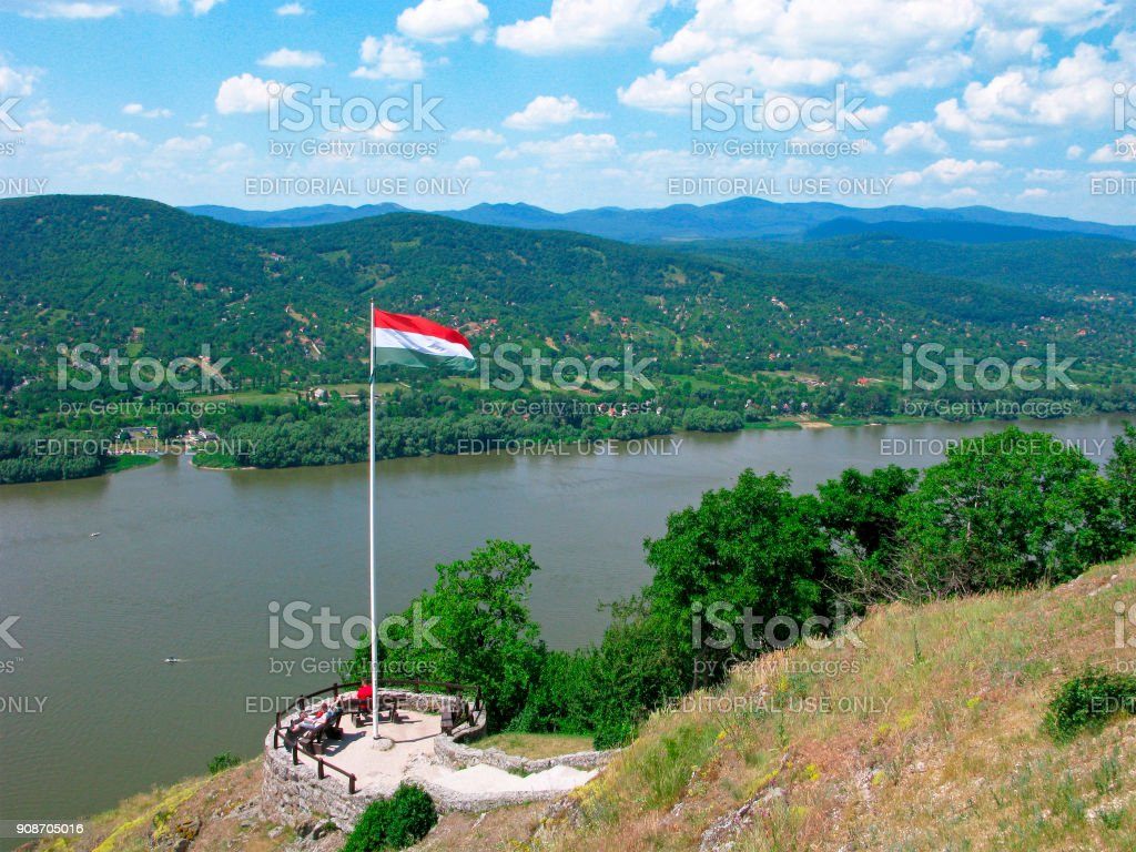 Observation deck over Danube, people, Hungarian flag stock photo