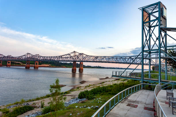 Observation Point at dusk overlooking the Route 84  Mississippi River Crossing at Natchez, MS