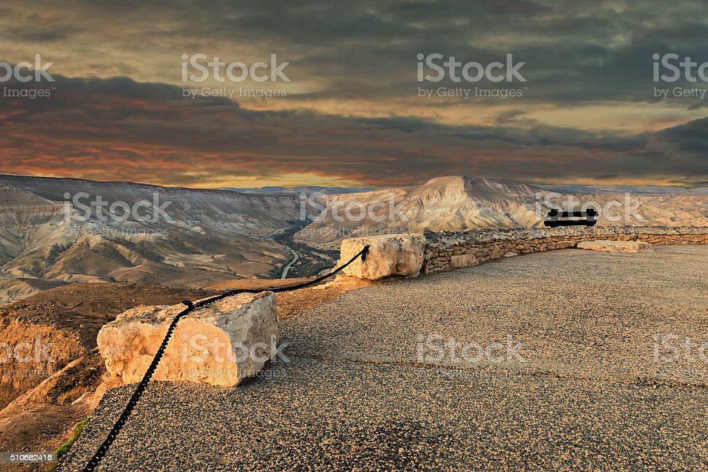 Observation point on desert of the Negev stock photo