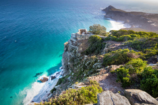 Observation point on the cliffs of Cape Point, South Africa stock photo