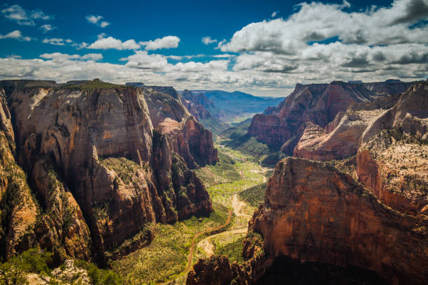 Observation Point From 6500 feet, you can see above and all around Zion Canyon, with Angels Landing down below on the right. zion national park stock pictures, royalty-free photos & images