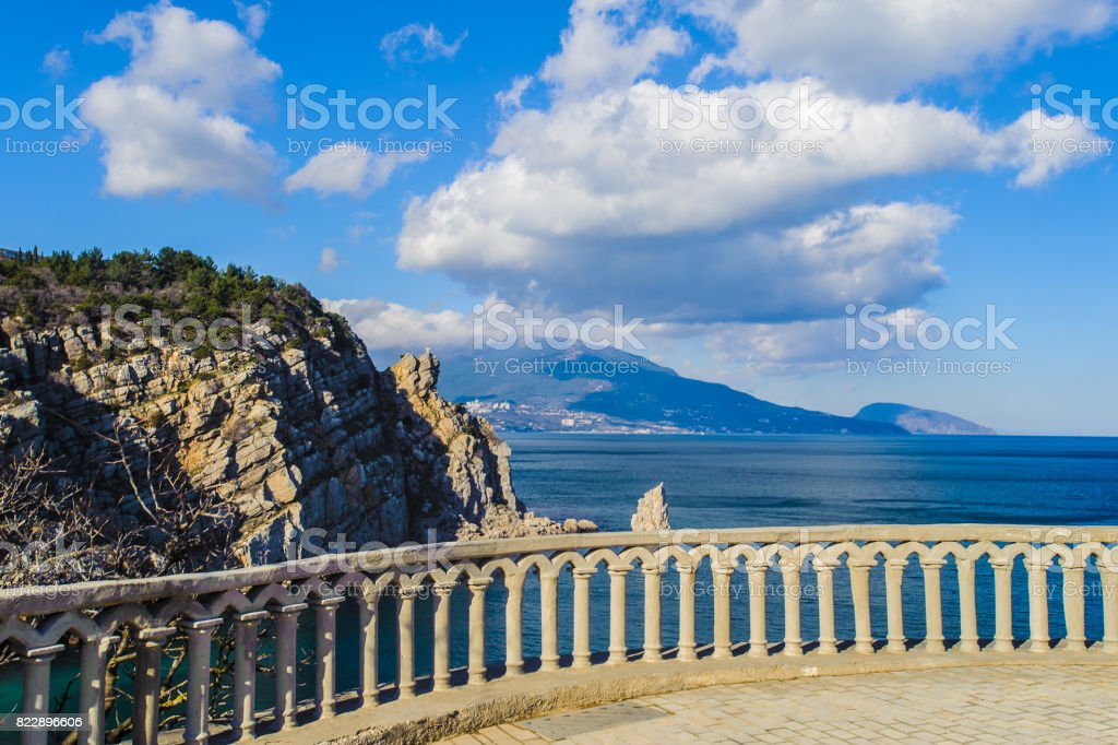 Observation point to see the black sea and nature of Crimea stock photo