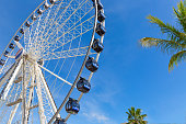 Cancun, Mexico - 20 December, 2019: Observation wheel close to the biggest Cancun Shopping Mall La Isla (The Island) that overlooks Cancun and the provides scenic views of the ocean lagoon and beaches