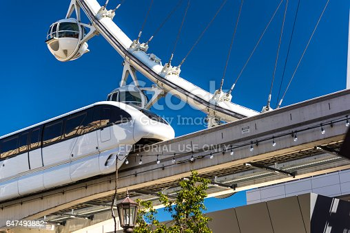 Las Vegas, USA - March 01,2017 : Observation wheel, High Roller, looking from street level . In this photo there is Las Vegas monorail passing by in front of the wheel. It is owned by