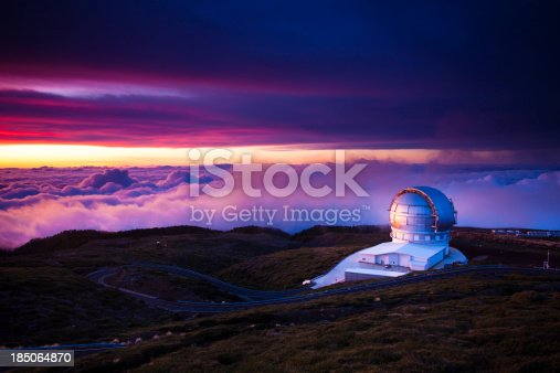 Telescopes on Roque de los Muchachos in la palma canary islands at sunset.