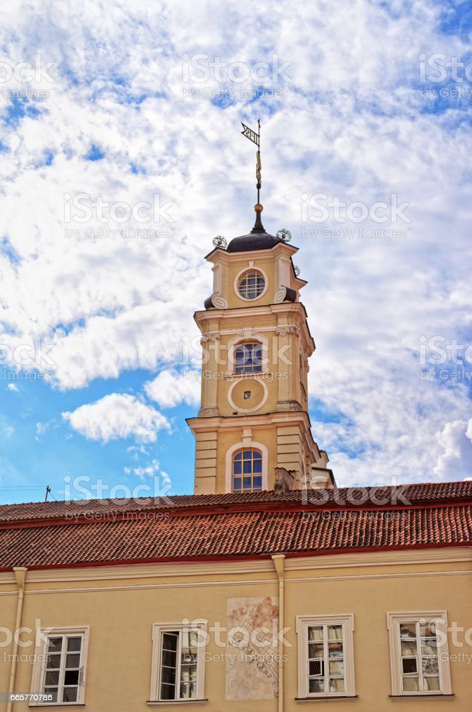 Observatory tower at Vilnius University stock photo