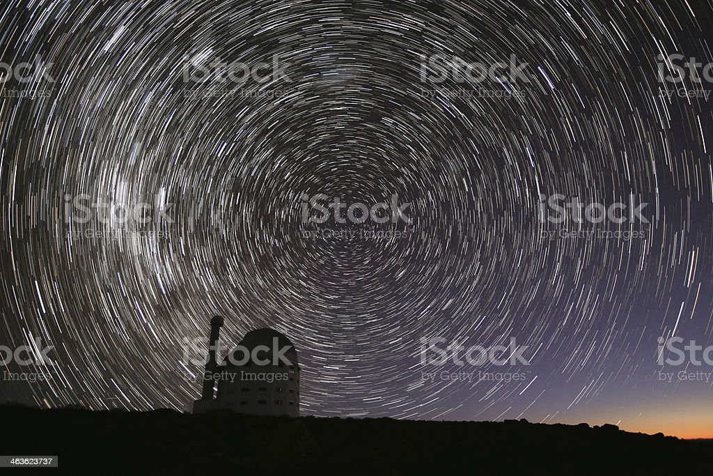 Observatory with Star Trails stock photo