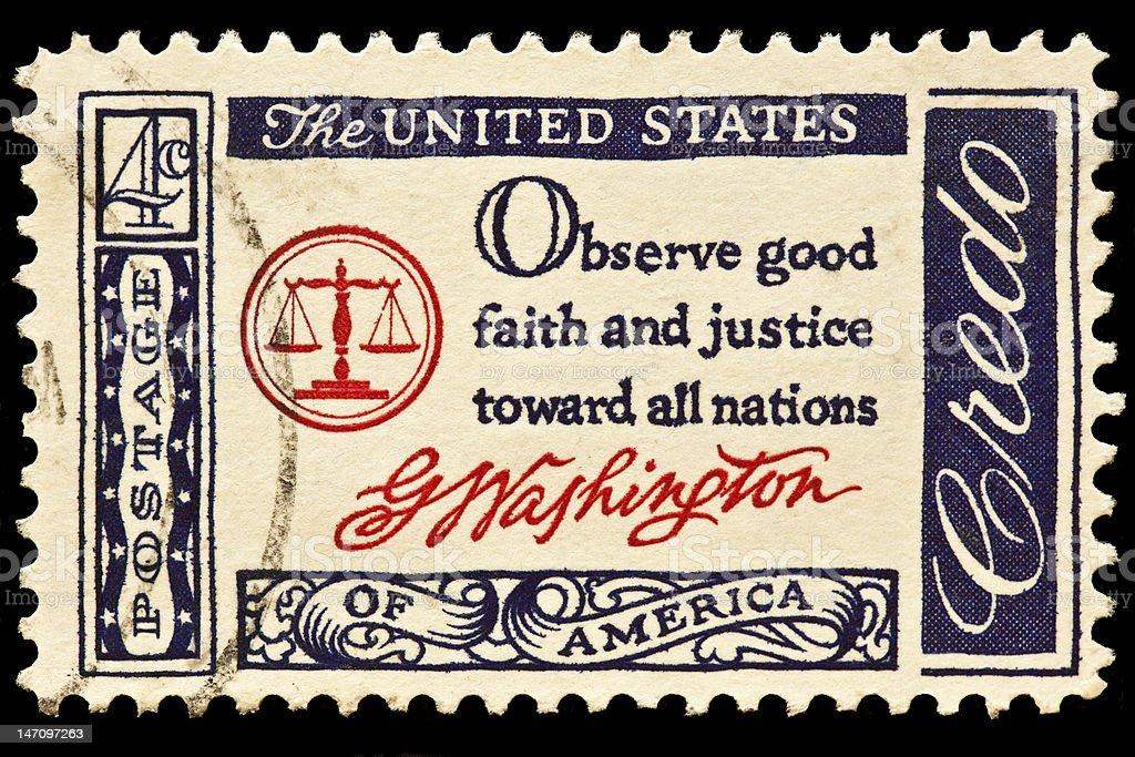 Observe Good Faith and Jutice Toward all Nations Postal Slogan stock photo