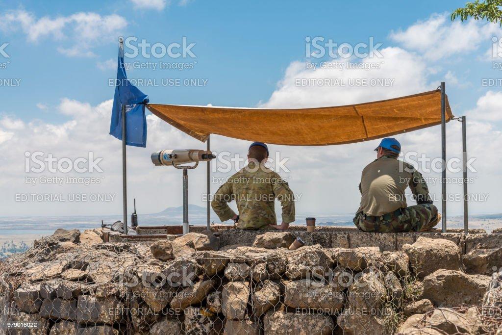 UN observers in the Israeli syrian border stock photo