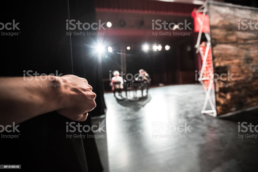 Observing Actors  Performing On Stage   From Backstage stock photo