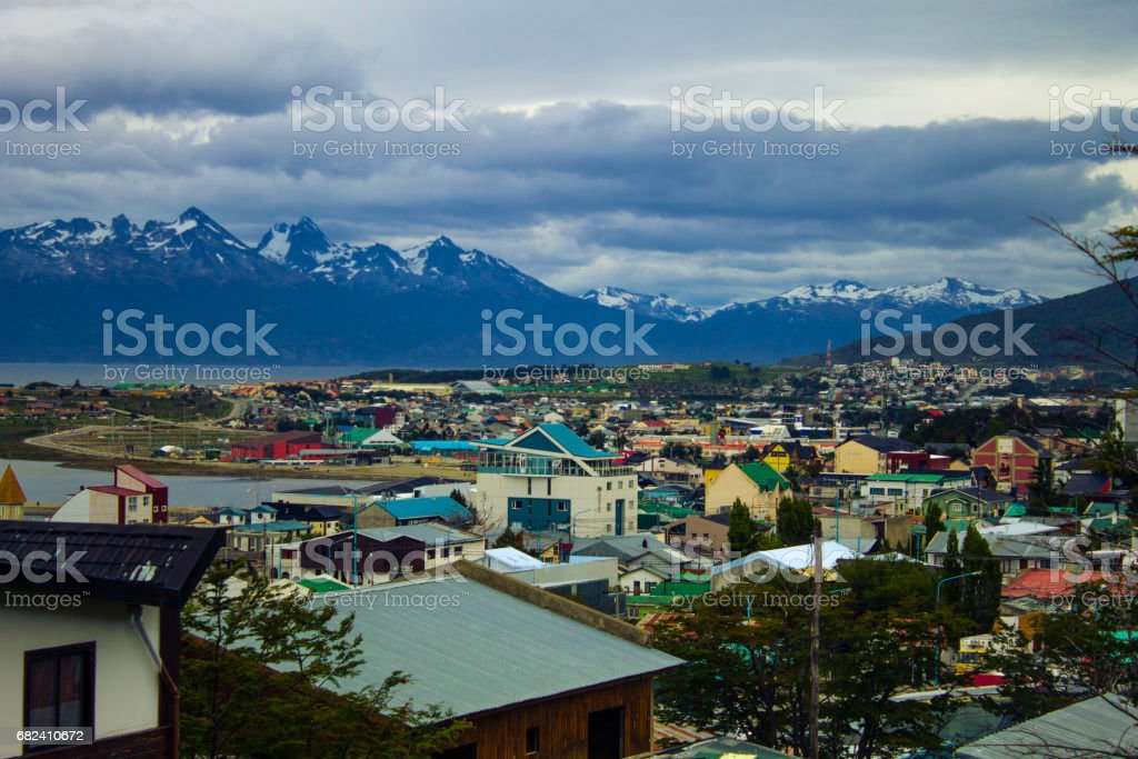 Observing the city of Ushuaia, Tierra del Fuego Province, Argentine Patagonia, South America. royalty-free stock photo