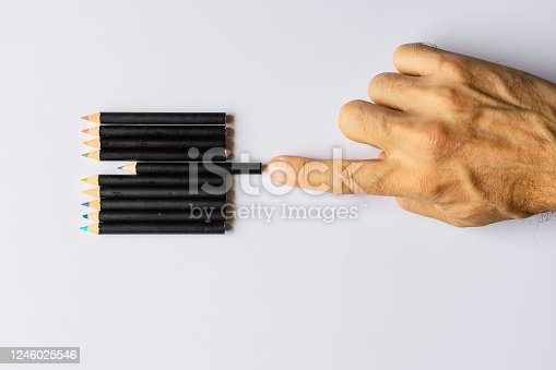 Obsessive compulsive disorder, male hand obsessively ordering some colored pencils Conceptual psychological problem, OCD