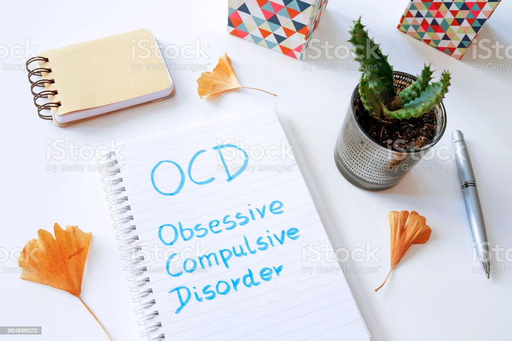 OCD Obsessive Compulsive Disorder written in notebook royalty-free stock photo