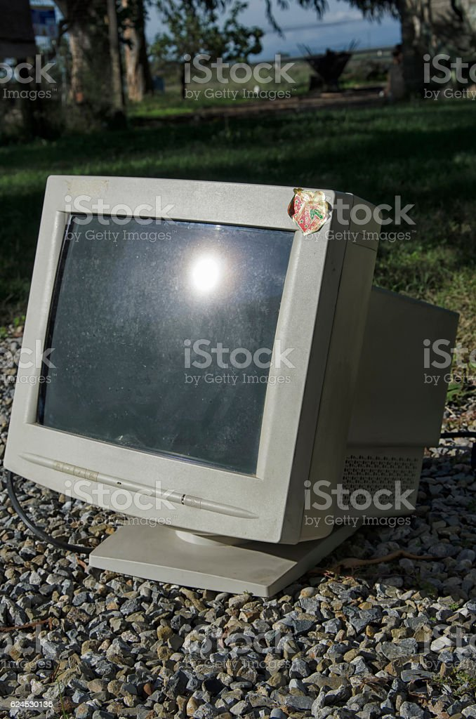 obsolete and heavy CTR monitor stock photo