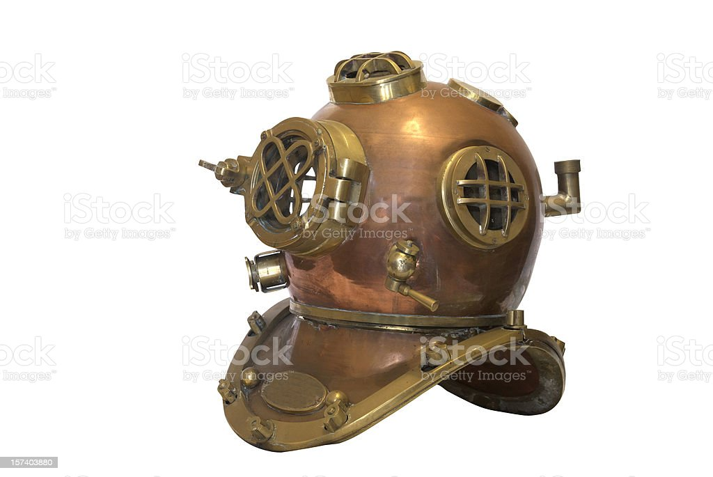 Obsolete diving helmet with clipping path stock photo