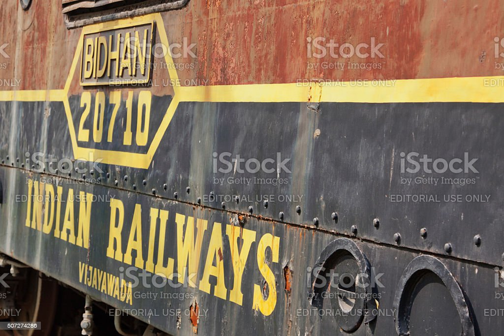 Obsolete rusting old steam engine sidelined in Delhi stock photo