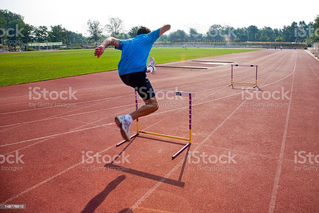 Obstacle runner stock photo