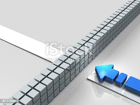 istock Obstacles to the course. An Arrow represent stagnation. 874703858