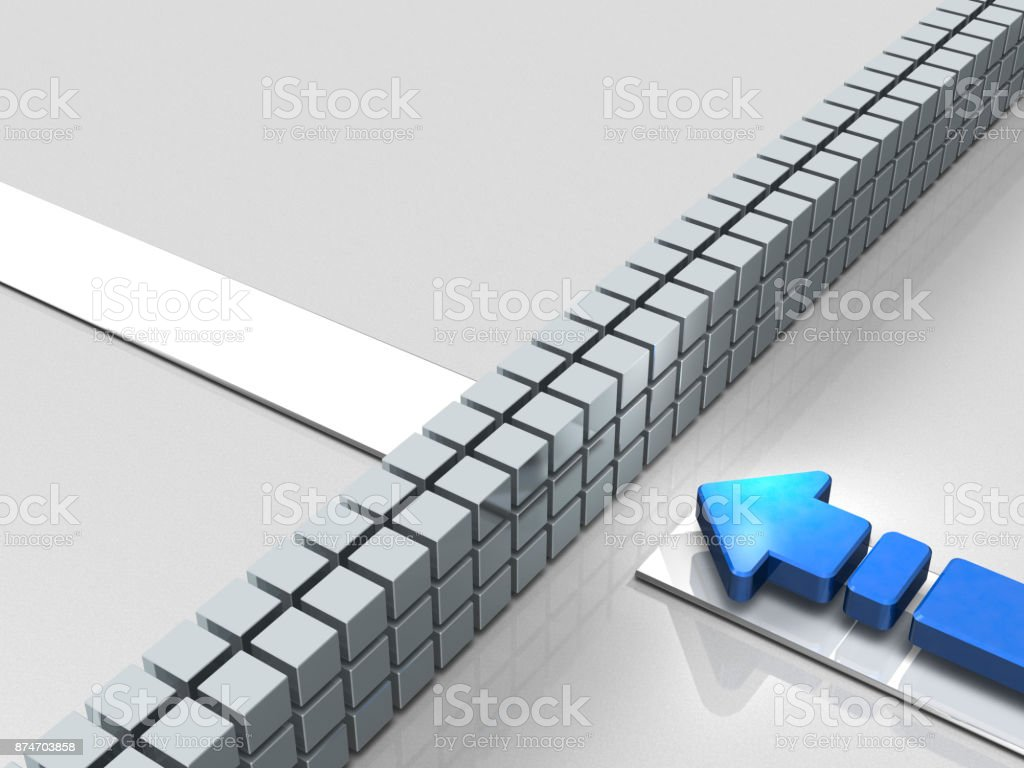 Obstacles to the course. An Arrow represent stagnation. stock photo