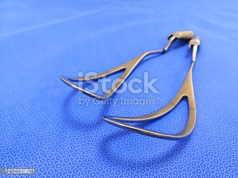 Closeup Image Of Obstetrical Forceps Or Baby Forceps