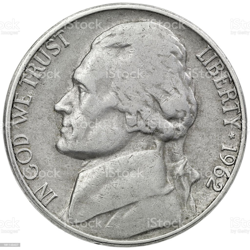 Obverse of the 1962 Jefferson Nickel stock photo