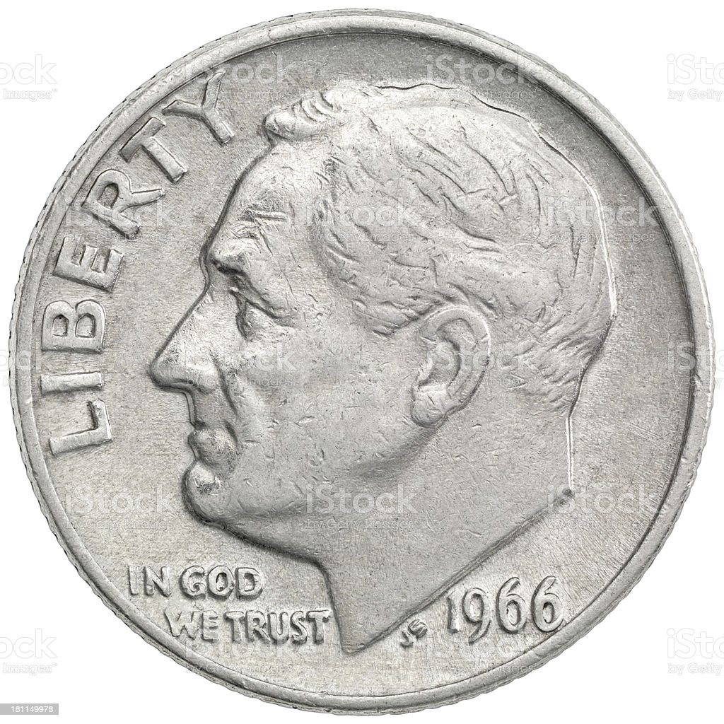 Obverse of the 1966 Roosevelt Dime stock photo