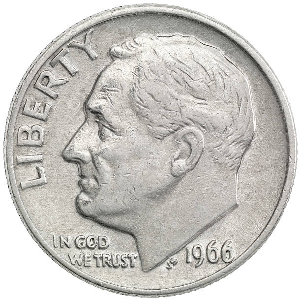 Obverse of the 1966 Roosevelt Dime High resolution and very sharp image, Include clipping path dime stock pictures, royalty-free photos & images