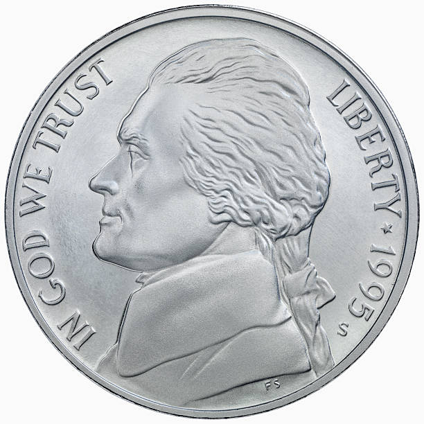 obverse of the 1995 jefferson silver nickel - nickel stock photos and pictures
